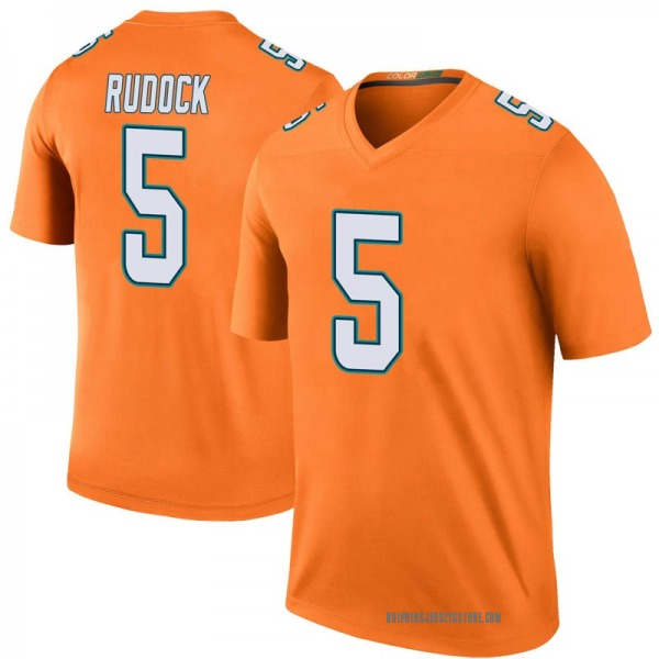 Youth Jake Rudock Miami Dolphins Legend Orange Color Rush Jersey
